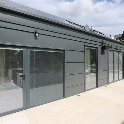 Grey aluminium bifold and french doors
