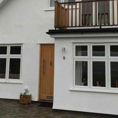 White uPVC flush sash casement windows installation