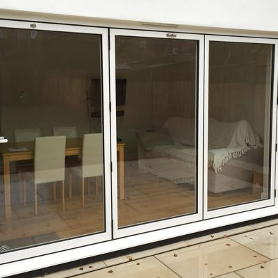 White aluminium bifold door