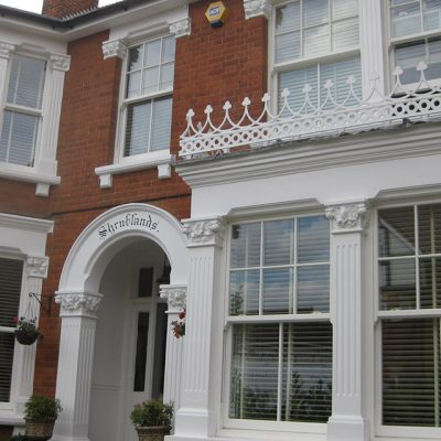 White Sash Bay Windows with decorative bars
